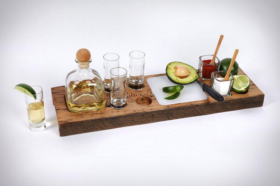 Tequila Shot Longdrink Brett Küche Serviert Barkeeper Bar Alkohol