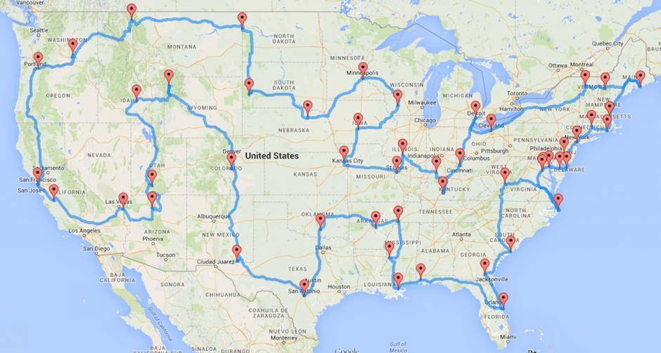 Schnellste Route Quer durch die USA Roadtrip Effizienz Randal S. Olson Sehenswürdigkeiten Data Tinkering