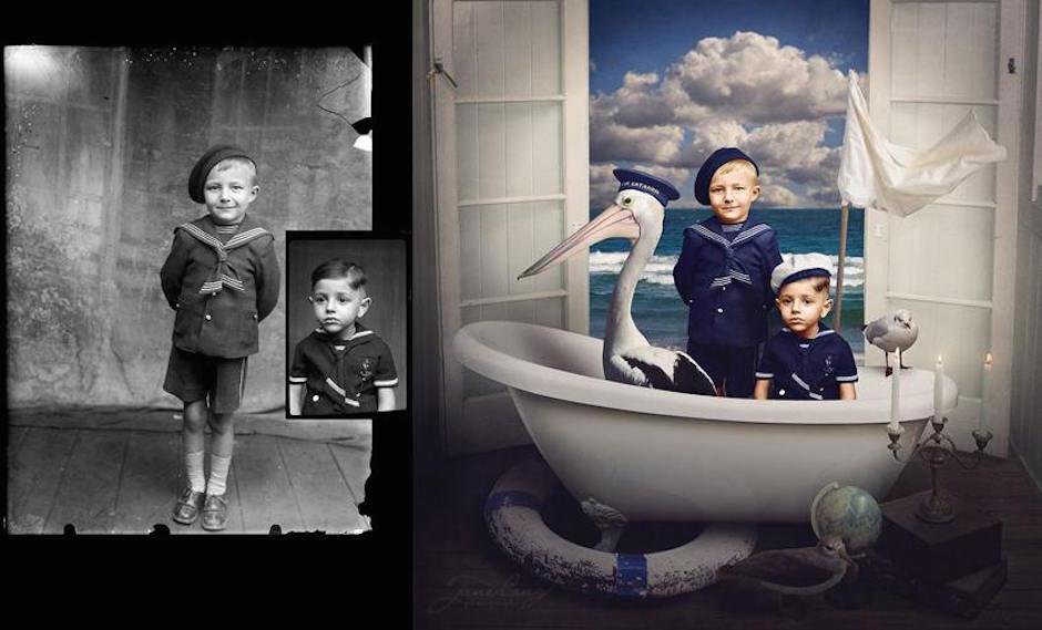 Jane Long Brüder Badewanna Albatross Coloriert altes Foto Photoshop Nostalgie