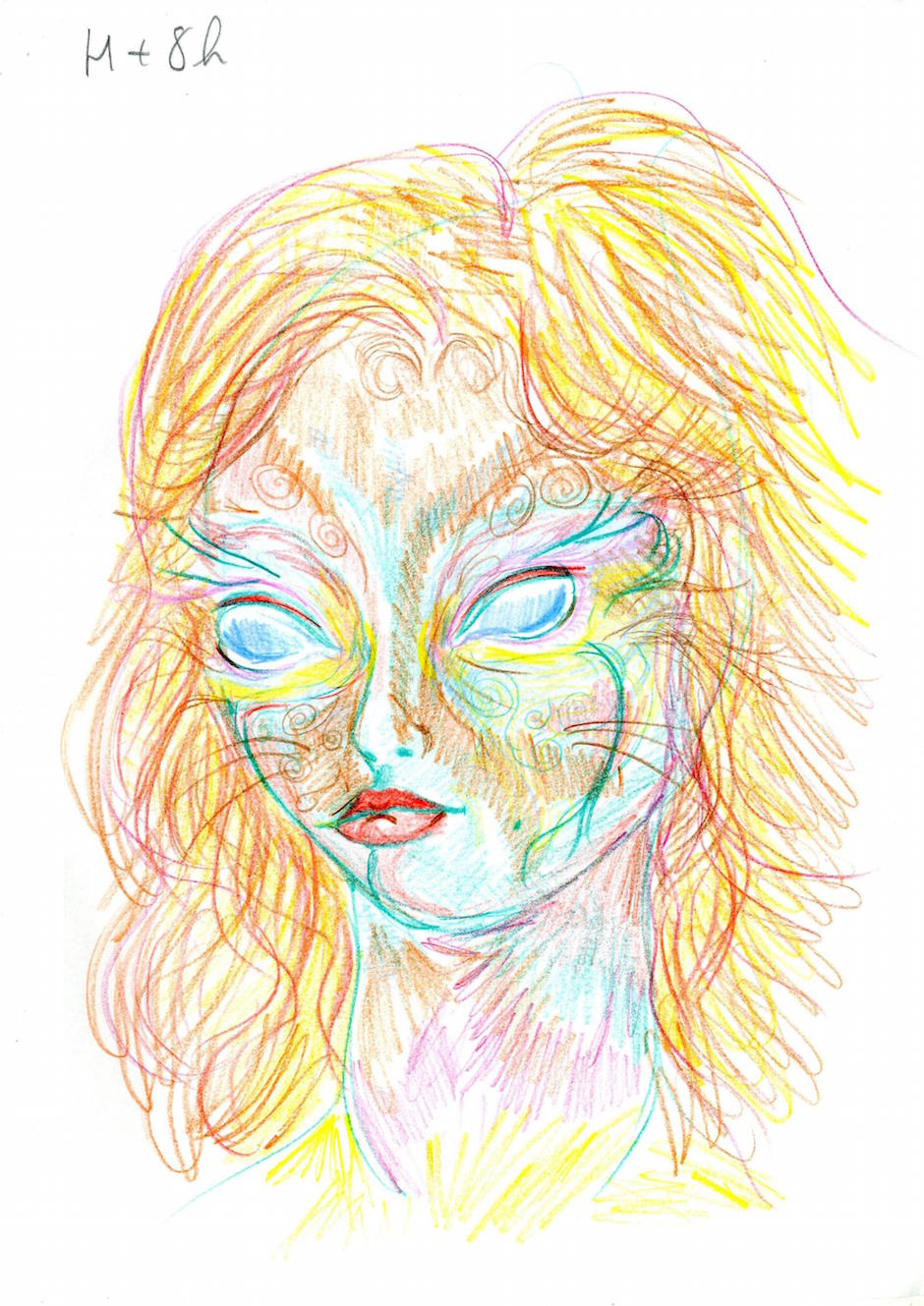 H + 8h After 45 minutes in the dark, listening to some Pink Floyd, she started to draw again.