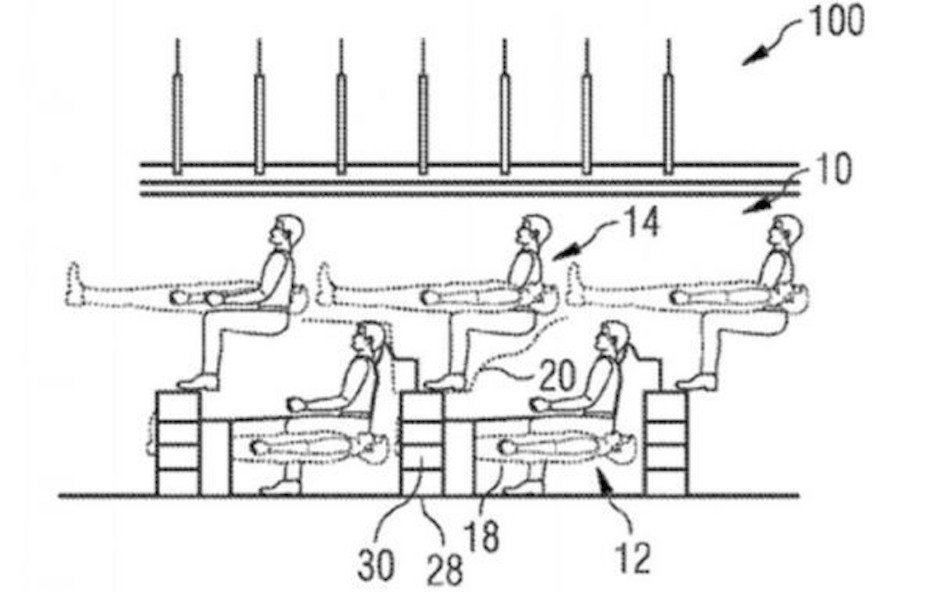 Airbus Flying Bunk beds Raumnutzung Passagiermaschine Travel Fliegen Passagiere Komfort Beinfreiheit Patent