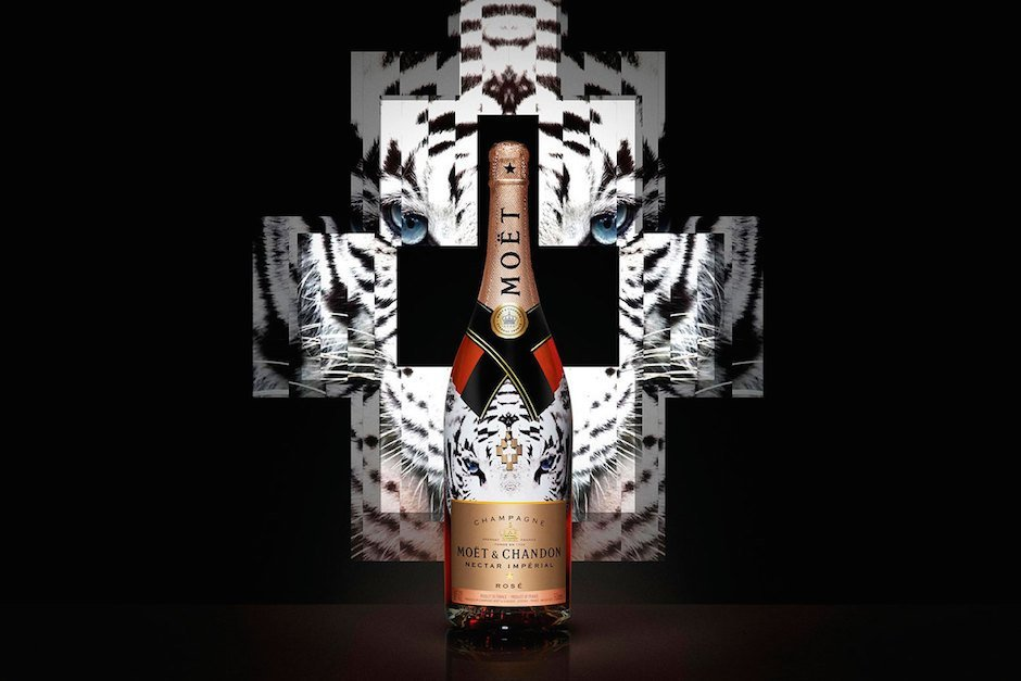 Marcelo Burlon Moët & Chandon Nectar Imperial Rose White Tiger Kopf Tier Print Design Flasche Champagner
