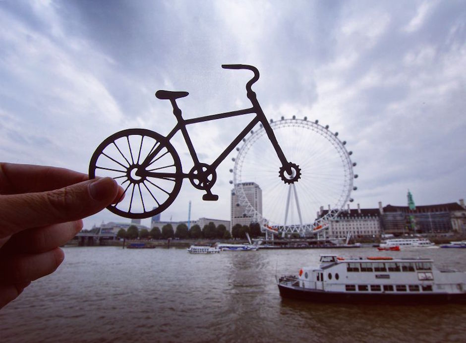 Rich McCor Paperboyo London Eye Bicycle Cut Out Fahrrad Ausgeschnitten Papier London Eye Themse instagram