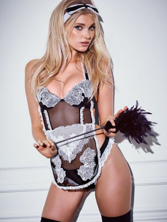 Elsa Hosk Victoria's Secret Halloween Kostüm French Maid Hausfrau Housewife Sexy Lingerie Dessous Unterwäsche Spitze Hot Model