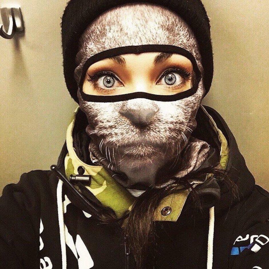 animal ski mask teya salat katze hoodie snowboard