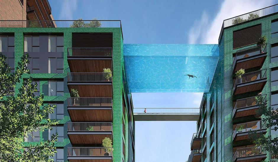 Ballymore ecoworld skypool schwebender pool london nine elms apartmenthaus himmel transparent panzerglas pool zwischen zwei häusern