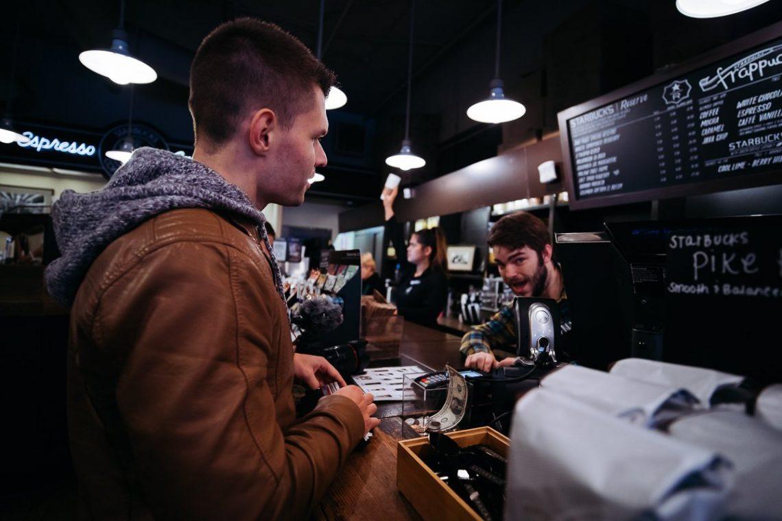 Cashier Kasse Fun Lachen Dollar Note Tafel Lampen Espresso