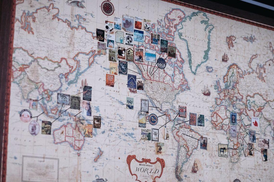 Starbucks Coffee Blends World Map Weltkarte Kaffeeröstung Antik