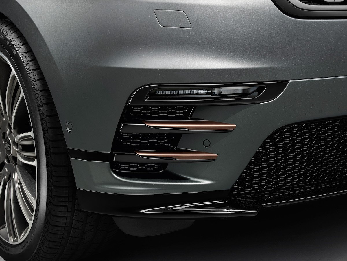 Range Rover Velar Front Stoßfänger Frontsplitter Lufteinlässe Tagfahrlicht Felgen Bronze Details Kühlergrill Bumper