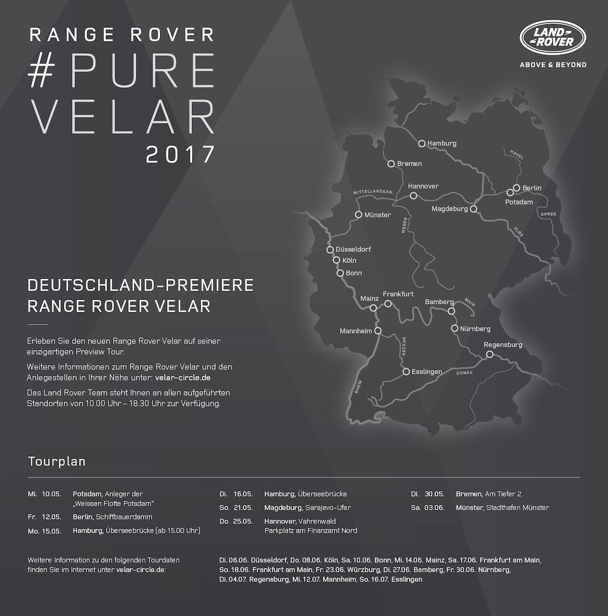 Range Rover Velar Preview Design-Tour Deutschland Standorten Daten Premiere Deutschlandkarte