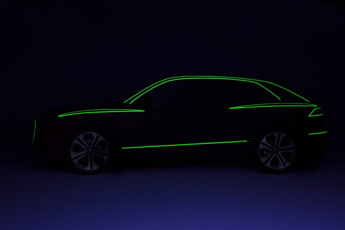 Audi Q8 Side view design study green tape