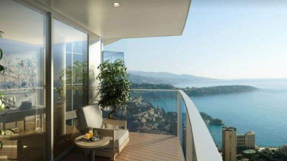Balkon Penthouse Stuhl Tisch Pflanze Aussicht Meer Holz