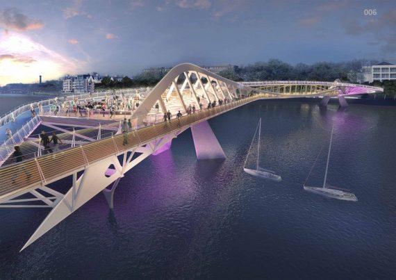 Brücke Boote Menschen Nacht Lila Violett
