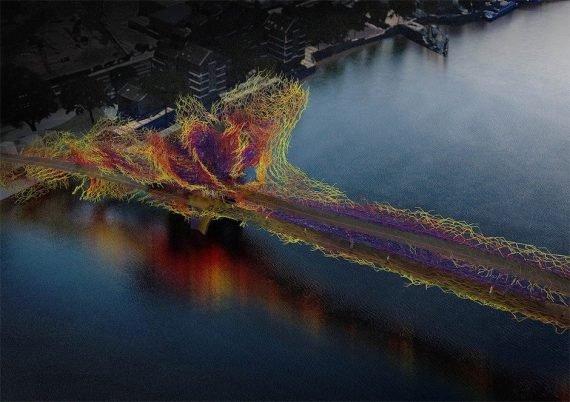 Nine Elms Bridge Entwurf Brücke Wasser Farben