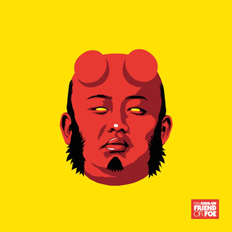 Kim Jong-Un Hellboy Butcher Billy Illustration Poster Kunst Satire