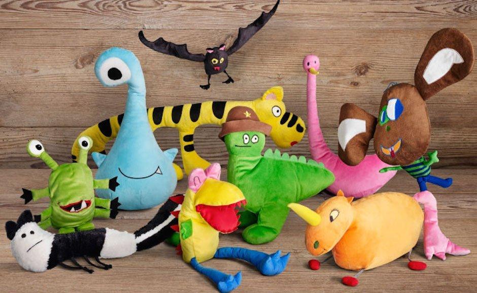 IKEA Soft Toys for Education Charity Kuscheltiere Plüschtiere Kinder Design Gemalt Gezeichnet Zeichnungen Möbelhaus Spielzeug