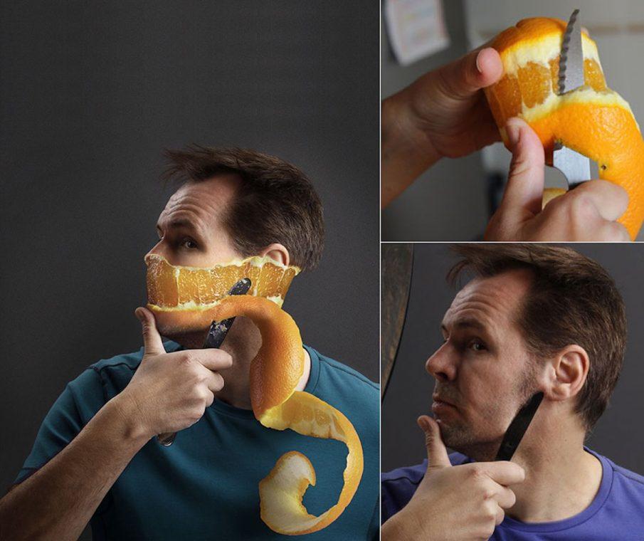 Juan Blat Rasieren Rasierer Orange Haut Photoshop BTS Fotograf