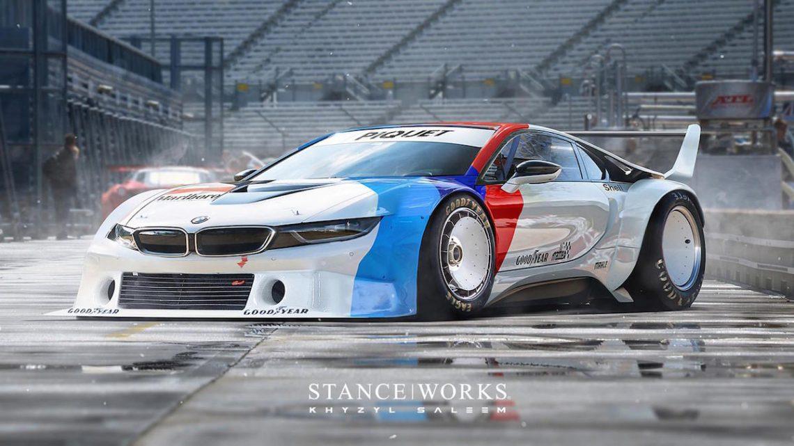 BMW ProCar i8 Rendering Khyzyl Saleem Photoshop Chopped BMW M1 Hommage Rennstrecke Aggressiv Rennwagen PIQUET BWM M Heckspoiler Bodykit