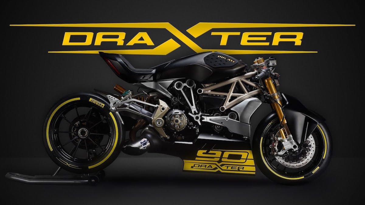 Ducati Draxter Motorrad Bike Drag Racing Pirelli schwarz gelb 90 Jahre
