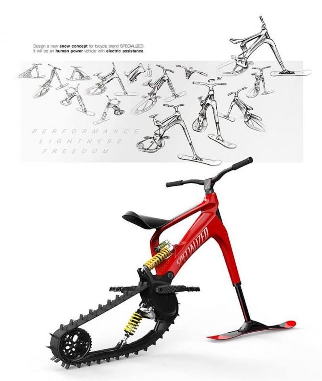 Snowmoto Electric Snowbike Concept Specialized eBike Fun Sport Extrem Schnee