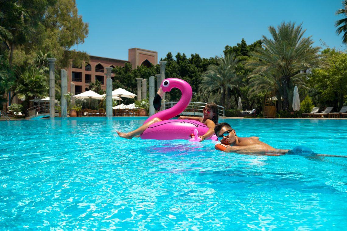 Es Saadi Palace Garden Resorts Flamingo Rettungsring Spaß Fun Wasser treiben lassen Lagoon Urlaub