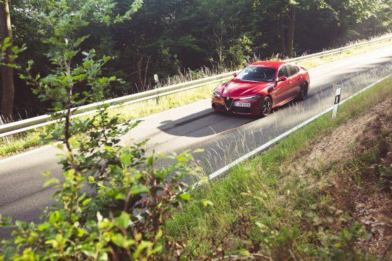 Alfa Romeo Giulia Quadrifoglio rot Profil Waldstück