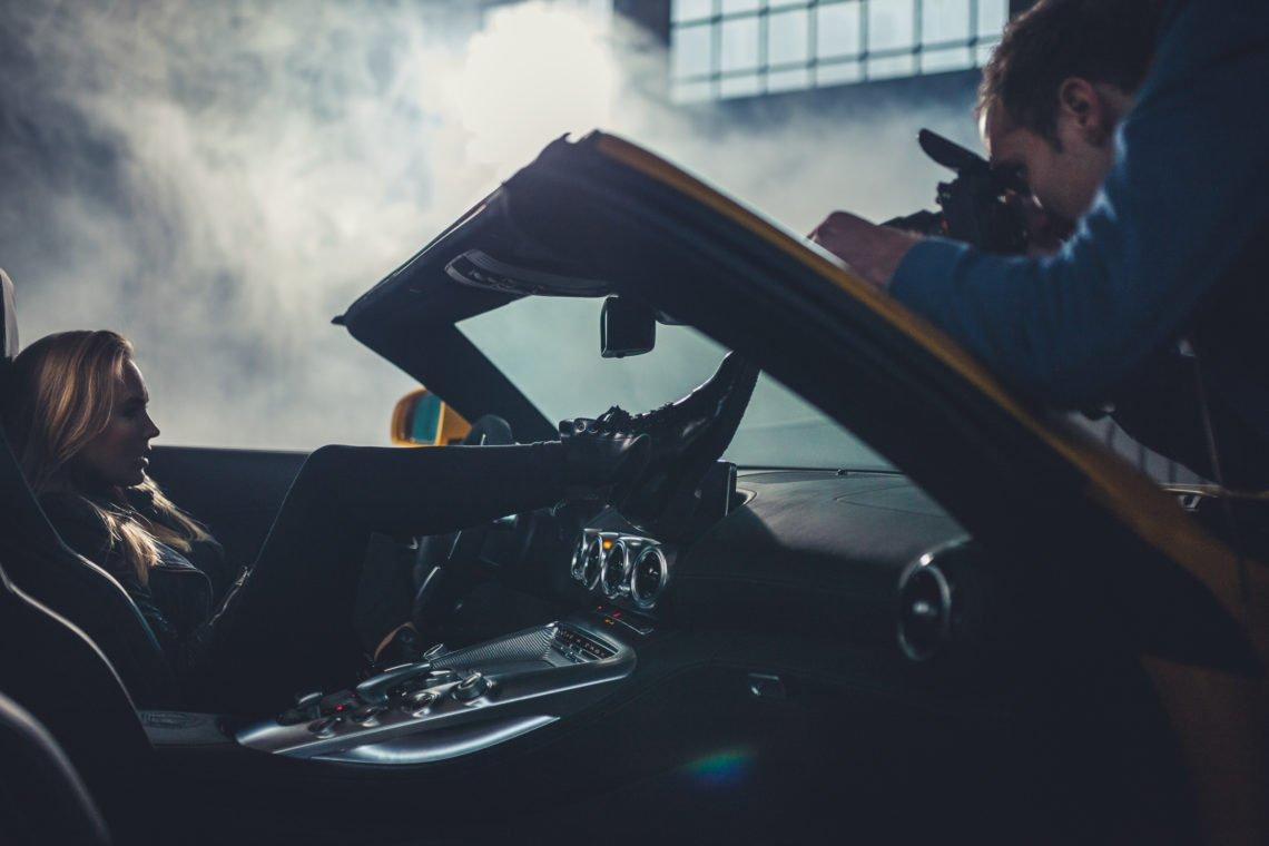 Boots Mund Gesicht Kamera Fotograf Mercedes-AMG GTC