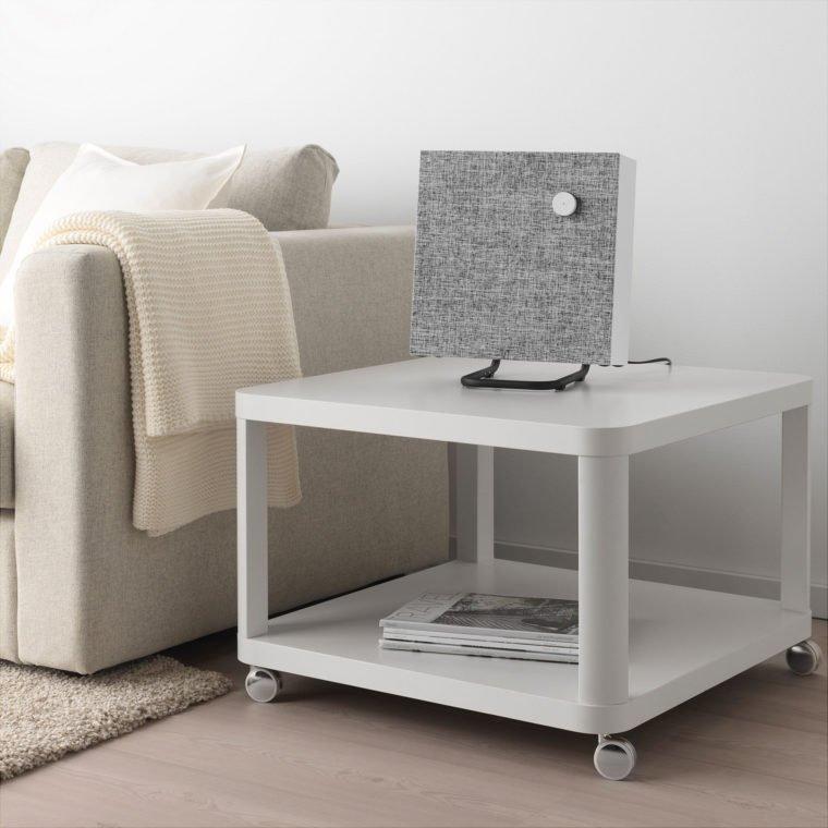 IKEA Eneby Bluetooth Lautsprecher Standfuss Wohnung grau Couch