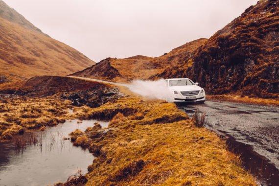 Glen Coe Single Track Lane Water Splash