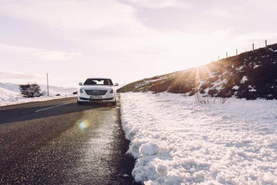 Schnee Straße Sonne Flare