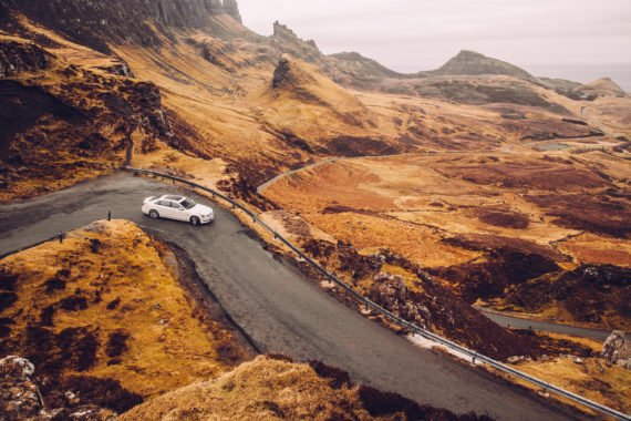 Cadillac CT6 Platinum White Quiraing Scotland Viewpoint Landscape