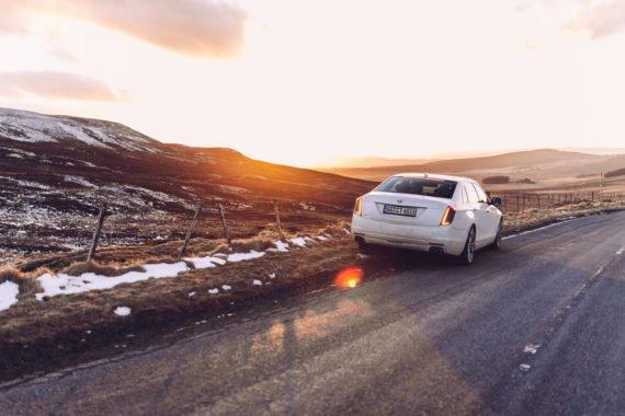 Mountain Scotland Sunset White Sedan