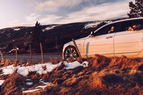 Sunset White Sedan Snow