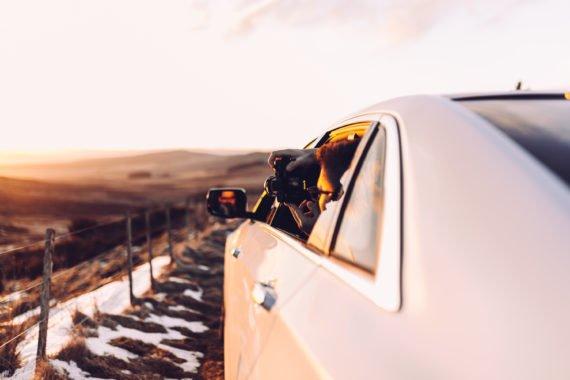 Sonnenuntergang Fotograf Roadtrip Limousine Gegenlicht