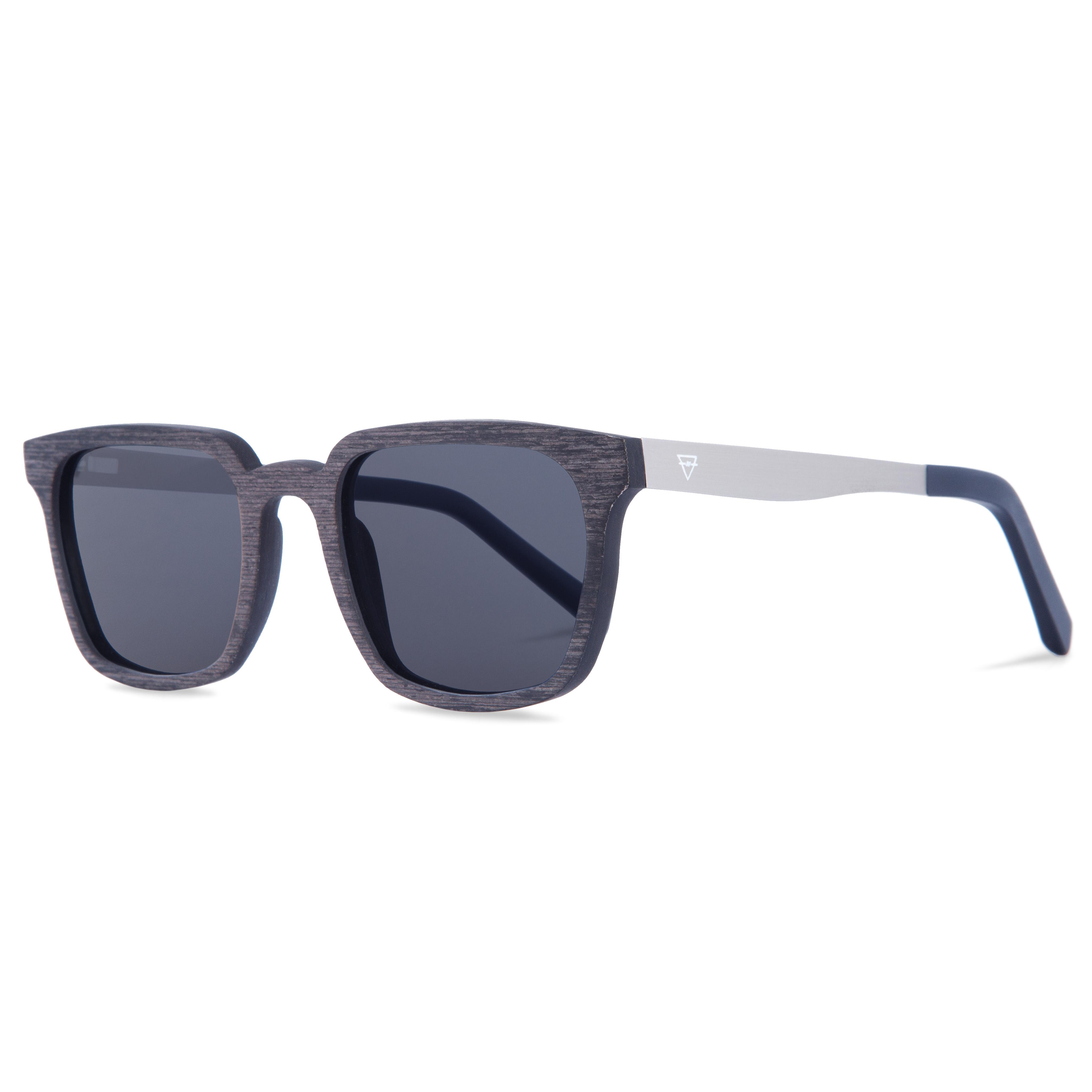 Kerbholz Sonnenbrillen Theodor Grenadill Holz Edelstahl blau grau Carl Zeiss